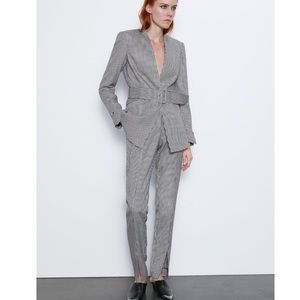 ZARA Houndstooth Trouser, Pant, w/Front Slits NWT